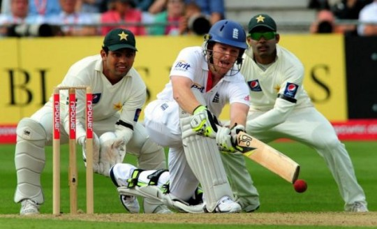 Out in front: Eoin Morgan sweeps on his way to a hundred for England at Trent Bridge yesterday (PA)