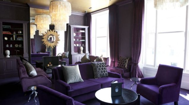 Louche lounge: The revamped upstairs of The Phene in Chelsea is decked out in purple and gold