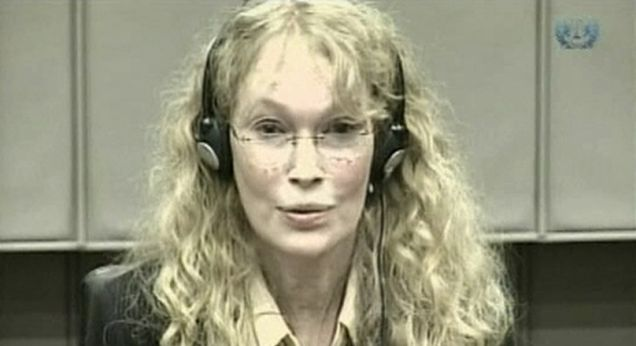Mia Farrow testifying at the war crimes trial of former Liberian President Charles Taylor at the U.N