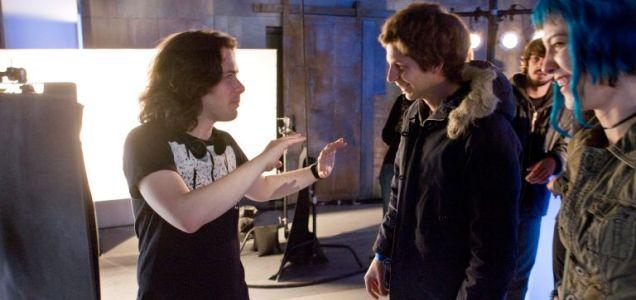 Going geek: Edgar Wright (left) with Michael Cera on the set of Scott Pilgrim Vs The World
