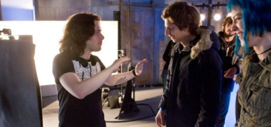 Going geek: Edgar Wright (left) with Michael Cera on the set of Scott Pilgrim Vs The World