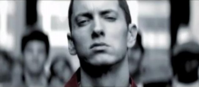 Eminem appears in a car crash promo for the MTV Video Music Awards (Pic: YouTube)