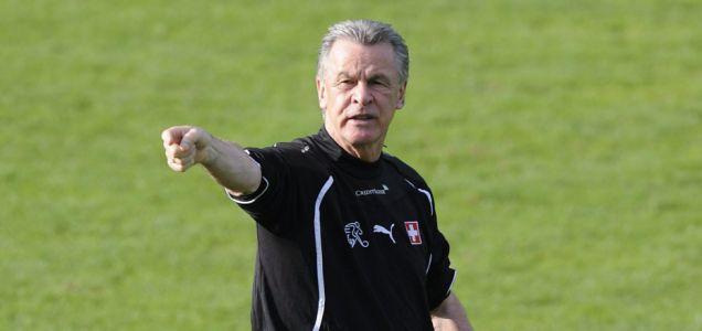 Stunned: Switzerland coach Ottmar Hitzfeld prepares for their Euro 2012 qualifier against England