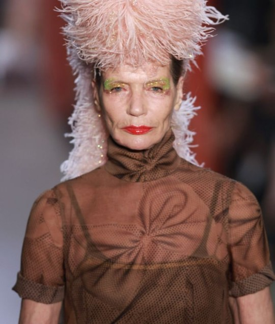 The Giles Deacon presentation at London Fashion Week featured several older models