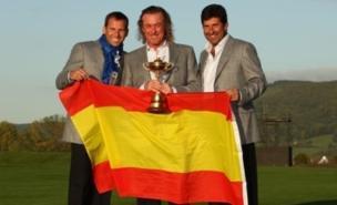 Jose Maria Olazabal celebrates the Ryder Cup triumph(PA)