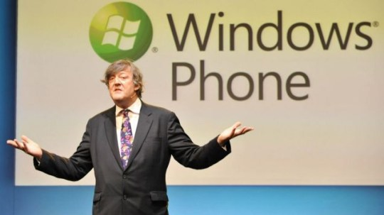 Stephen Fry speaks at a press conference at the ICA in London to launch the new Windows Phone 7