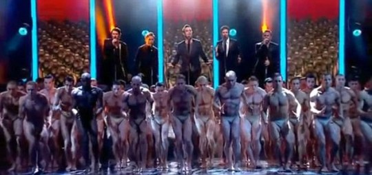 Take That's routine including a stage of almost naked male dancers at the Royal Variety Performance
