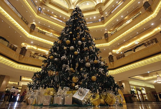 The Emirates Palace hotel has erected a $11m Christmas tree in its lobby