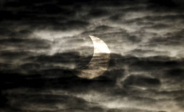 Cloud cover prevented most people from seeing the partial solar eclipse (Pic: EPA)