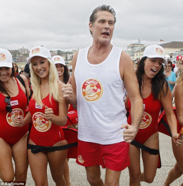 David Hasselhoff stepped back in time to his Baywatch days for an ice lollie promo