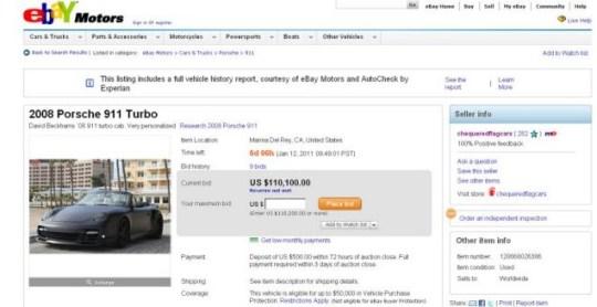 David Beckham's £150,000 Porsche up for sale on eBay | Metro
