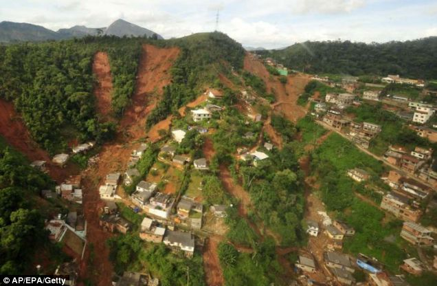 Submerged: An aerial view of Teresopolis, which was swamped by a wall of mud, crushing scores of homes