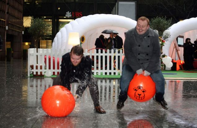 You can banish the blues by riding space hoppers at ActionAid's Happy Bubble in London (Picture: Gretel Ensignia)