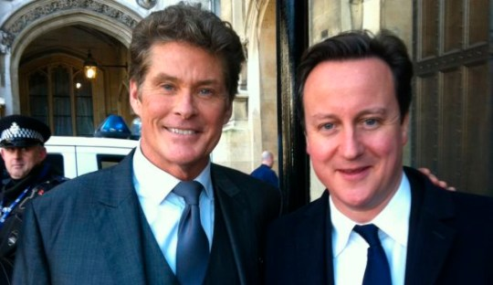 Davdi Hasselhoff and David Cameron: at least one of these people knows who the other one is (Pic: AP/Judy Katz)