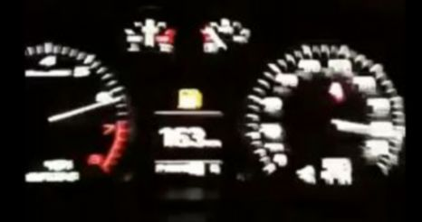 In this grab from YouTube, the speedo is reading 163mph as the driver careers down the A127