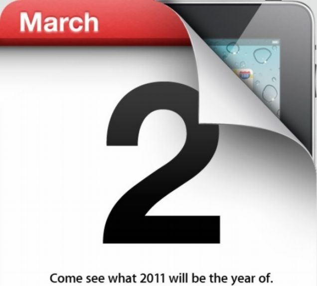 The invite for Apple's March 2 event, at which it's expected to launch the iPad 2