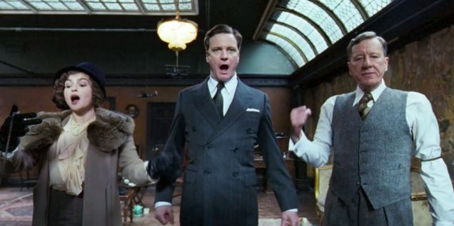 Helena Bonham Carter, Colin Firth, and Geoffrey Rush star in The King's Speech