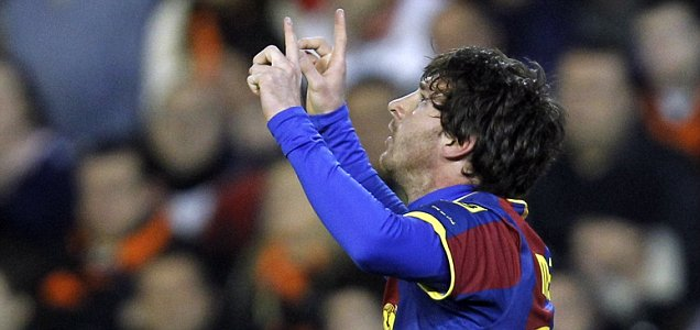 Here comes the rain: Lionel Messi has predicted a Barcelona thunderstorm (AP)