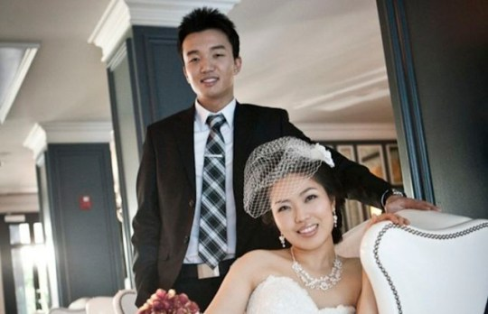 Skype wedding couple Samuel Kim and Helen Oh in their engagement photograph, taken before the groom came down with a lung infection (Reuters)