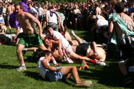 The organised fight between the Caesarians and the Girton Green Giants during the Caesarian Sunday drinking party (Picture: Geoff Robinson)