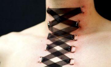 Corset piercing craze sees ribbon 'sewn' into skin
