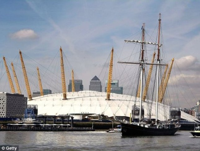 The schooner 'Wylde Swan' sails on the River Thames near the Millennium Dome on September 15, 2011 in London, England. 18 tall ships to grace the Thames during London 2012.