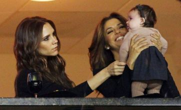 Eva Longoria and Victoria Beckham dote on Harper as they cheer on David