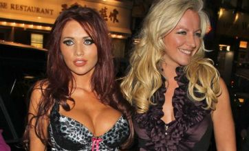 Amy Childs nearly bursts out of her corset at Tesco's Bra Queen launch