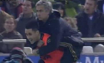 Jose Mourinho shows off new piggyback touchline celebration