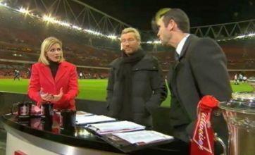 Arsenal legend Martin Keown gets smashed in the head with football