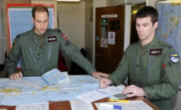 Prince William takes to the skies over the Falkland Islands