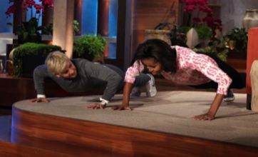 Michelle Obama shows Ellen she is the first lady of push-ups