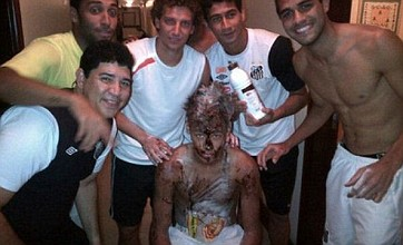 Neymar gets 'caked' by Santos pals after reaching 100 career goals
