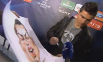 Cristiano Ronaldo shown his ugly side in caricature to autograph