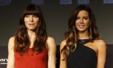 Kate Beckinsale and Jessica Biel glam up for Total Recall premiere