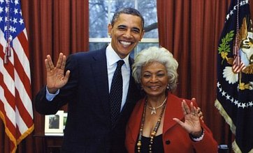 President Obama gives Vulcan salute in photo with Star Trek's Lt Uhura
