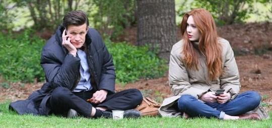 Matt Smith and Karen Gillan taking a break inbetween filming on Doctor Who (Picture: XposurePhotos.com)