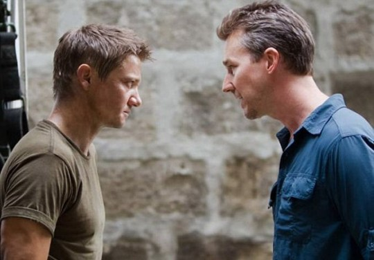 Jeremy Renner and Edward Norton lock eyes in The Bourne Legacy (Picture: Universal)