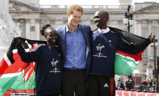 Prince Harry, Mary Keitany, Wilson Kipsang, London Marathon