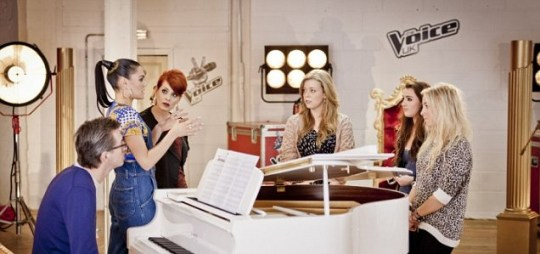 Jessie J gives her expert advice to Becky, Indie and Pixie on The Voice UK (Picture: BBC)