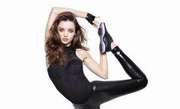 Miranda Kerr shows off her moves in PVC leggings for Reebok campaign