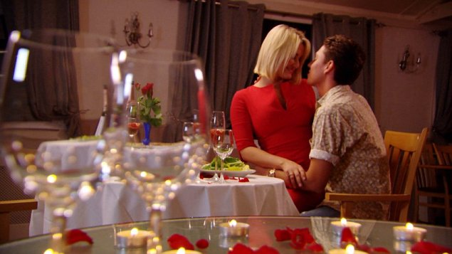 Joey Essex and Sam Faiers get back together as only TOWIE cast members can, surrounded by TV cameras (Picture: ITV)