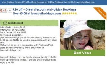 Image of Madeleine McCann used to advertise holidays to Portugal