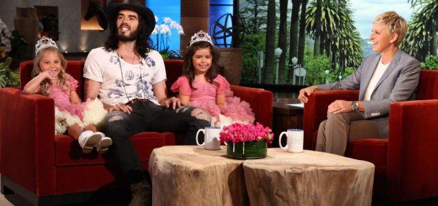 Russell Brand, Sophia Grace Brownlee and Rosie McClellenad on the Ellen DeGeneres Show