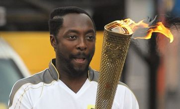 The Voice coach Will.i.am carries Olympic torch through Taunton