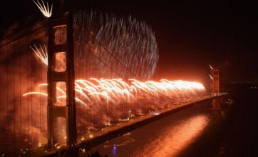 Golden Gate Bridge lit up by firework display to celebrate 75th anniversary