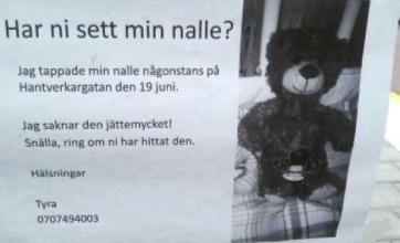 Swedish police appeal for help to find girl's missing teddy