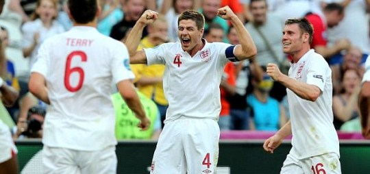 Steven Gerrard of England celebrates