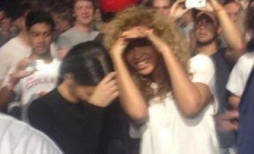 Beyonce and Kim Kardashian watch their men Jay Z and Kanye West perform in Birmingham