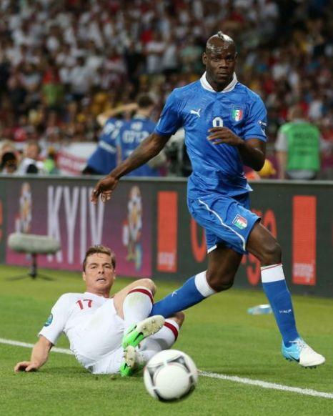 Scott Parker, Mario Balotelli, England v Italy, Euro 2012